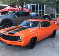 #BecauseSS Killer Chevelle built by Karl chevelle orange and black custom grill spoiler, painted bumpers, Performance and running an AME GT Sport A Body chassis #chevls7 on the gram