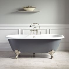Sanford Cast Iron Clawfoot Light Gray Tub with Brushed Nickel Feet. The Light Gray exterior of the Sanford Cast Iron Clawfoot Tub brings a new look to classic bathroom styles. This tub includes a set of optional swiveling foot adjusters. Grey Bathrooms, Small Bathroom, Master Bathroom, Bathroom Black, Attic Bathroom, Bathroom Tubs, Ikea Bathroom, Glass Bathroom, Downstairs Bathroom
