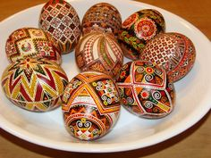 Nicely done pysanky - note how a satin finish can add an elegant, antique-like look to the finished eggs.