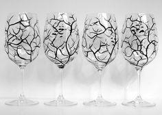 Spooky White and Black Halloween Trees wine glasses by MaryElizabethArts on Etsy