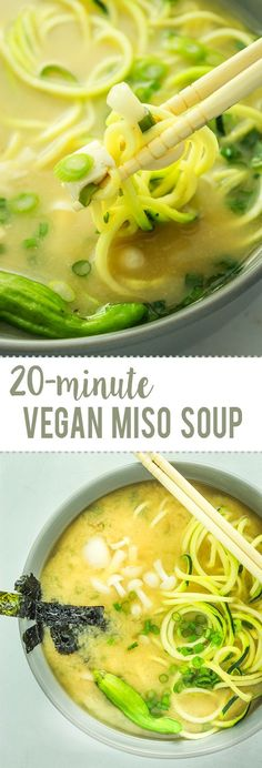 Vegan Miso Soup from Easy Vegan Miso Soup – LIFE saving recipe. It chases away colds, stuffy noses, and winter blues. Ready in 20 minutes! It chases away colds, stuffy noses, and winter blues. Ready in 20 minutes! Vegan Miso Soup, Vegan Soups, Vegan Dishes, Easy Vegan Soup, Vegan Food, Easy Miso Soup Recipe, Paleo Soup, Raw Vegan, Vegan Desserts