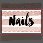 A modern, stylish nails technician artist business card with modern hand lettering style brush typography in black on an elegant faux rose gold glitter ombre and pastel blush pink. The white background color is fully customizable If you need any customization, don't hesitate in contacting me
