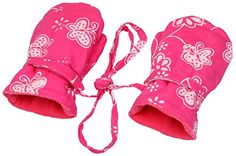 Back From Bali Baby Toddler Girl Mittens. Fleece fabric on interior is smooth and right thickness for warmth; Outer Fabric that does not scratch is cotton batik in fun designs making everyone smile. Attached string goes through arms of babies bunting/jacket so you never lose them