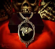 Black Bat Necklace // Gothic Necklace Bat Cameo Bat by horribell