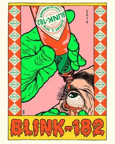 yuhoo! new official gig poster i did for @blink182 is out now.. silkscreen, 7 colors with sweet neon green you can get it at ghostowncrew.com  thank you @mrtsurt ... i was so high when i drew it i did 6 fingers.. #brokenfingaz #blink182 #gigposter #atlant