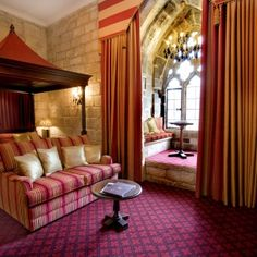 Super king-size four poster bed, window seat set into 7 ft walls, spacious bathroom with large bath and rain shower all in the best Northumberland Castle