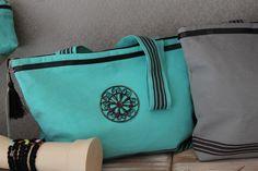 sac toile coton bleu motif métal, 3 petites rayures. Collection été 2014