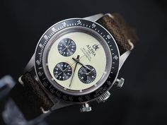 Alpha mechanical chronograph men s watch display back