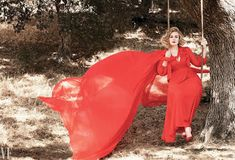 Adele Images In Red Dress