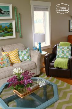 Lightening and brightening up the Living Room with DIY Projects and upcycled thrift store finds at thehappyhousie