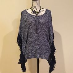 SALE Blue fringe top Super cute fringed blue top, it is made of thin sweater material. Charming Charlie Tops