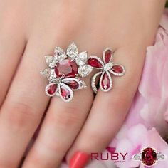 Floral design ruby stone ring you can gift to your love of life