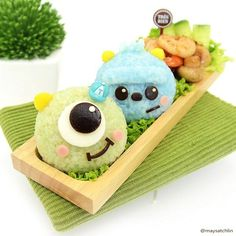 mike and sulley Food Kawaii, Kawaii Cooking, Kawaii Bento, Japanese Food Art, Japanese Sweets, Bento Kids, Mike And Sulley, Cute Bento Boxes, Little Lunch