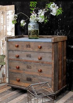 VINTAGE: Zinc Topped Pine Plank Chest £720 from www.quirkyinteriors.co.uk