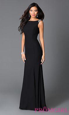 Black Long Beaded Sleeveless Prom Dress With Open Drape Back at PromGirl.com