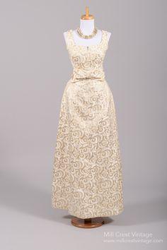 1960's Metallic Brocade Vintage Evening Gown