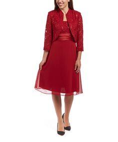 Another great find on #zulily! Red Lace Empire-Waist Dress & Bolero - Women #zulilyfinds