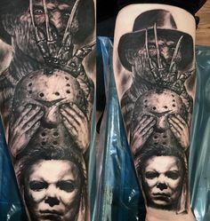 Evil Tattoos, Scary Tattoos, Body Art Tattoos, Thigh Tattoos, Tattoo Art, Piercing Tattoo, Piercings, Shoulder Sleeve Tattoos, Horror Movie Tattoos