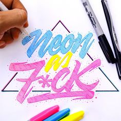 neon as f*ck!  typography illustration with a vintage, retro feel