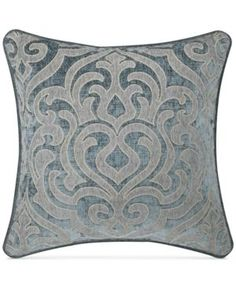 Dress your bed in chic sophistication with the exquisite J. Queen New York Sicily Square Throw Pillow. Styled with intricate woven chenille damask, the beautiful teal throw pillow is the perfect complement to the lustrous bedding. Teal Throws, Teal Throw Pillows, Karim Rashid, Laura Ashley, Teal Bedding, Bedding Sets, Queens New York, Queen News, Pillows Online