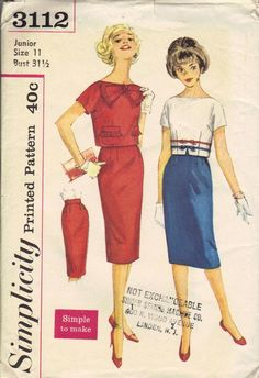 954c621ea54 Mad Men Style Wiggle Dress Simplicity 60s Sewing Pattern 3112 Pencil Skirt  Cropped Top Short Sleeve Shirt Bateau Neck Kimono Sleeves Bust 32