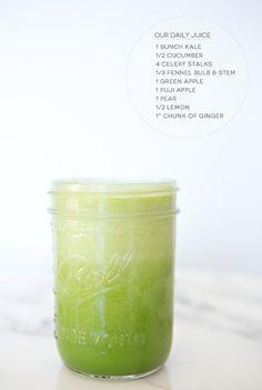 kale, cucumber, celery, fennel, apple, pear lemon & gingner