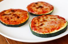 Zucchini Pizza Bites. It gives you the satisfaction of pizza without all of the carbs and calories you get from bread.