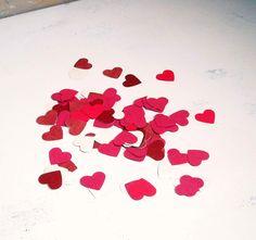 500 paper hearts - wedding decor mixed reds confetti upcycled eco-friendly. $10,00, via Etsy.