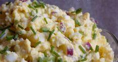 Lilahagymás tojáskrém recept képpel. Hozzávalók és az elkészítés részletes leírása. A Lilahagymás tojáskrém elkészítési ideje: 17 perc Top Recipes, Cottage Cheese, Potato Salad, The Best, Mashed Potatoes, Food And Drink, Eggs, Healthy, Ethnic Recipes