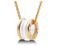 "BULGARI  B.ZERO1 NECKLACES  B.zero1 pendant with white ceramic 18kt pink gold chain. 14.82-17.75"" long. Ref.346082 CL855721"