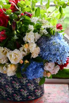 Flower Centerpieces, Memorial Day, Red And White, Bloom, Table Decorations, Flowers, Plants, Home Decor, Decoration Home