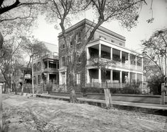 """Charleston, South Carolina, circa 1902. """"Residences on Hasell Street."""" WHJ's Street View cam, a few yards upstream from this earlier view. 8x10 inch glass negative by William Henry Jackson, Detroit Publishing Co."""