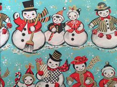 Vintage Gift Wrapping Paper by Kaycrest - A Family of Snowmen in the Snowfall - Blue Christmas - 1 Unused Full Sheet Christmas Gift Wrap Vintage Christmas Wrapping Paper, Christmas Gift Wrapping, Gift Wrapping Paper, Christmas Gifts, Christmas Decor, Snowmen Pictures, Snowman Pics, Vintage Gifts, Vintage Paper