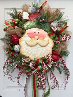 Christmas Santa Mesh Burlap Wreath by WilliamsFloral on Etsy