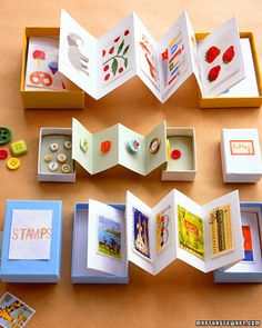 """Tiny treasures like stickers, buttons, or stamps are easier to enjoy and store when they're glued to folded pages. Measure and mark a long strip of paper or card stock whose short side matches the long side of a small box. Accordion-fold the strip, and glue the first page to the inside of the box's lid and the last page to the inside of the box's bottom."""