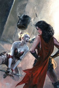 "Gabriele Dell'otto - ""JLA vs Suicide Squad #1 variant cover"" Harley versus Wonder Woman"