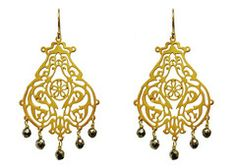 These beautiful handcrafted gold chandelier earrings would be a great gift to give this Spring! $88