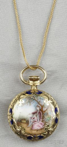 18kt Gold and Enamel Open Face Pocket Watch