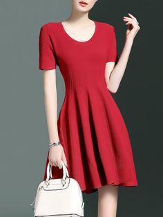 Shop Mini Dresses - Simple Short Sleeve A-line Plain Crew Neck Mini Dress online. Discover unique designers fashion at StyleWe.com.