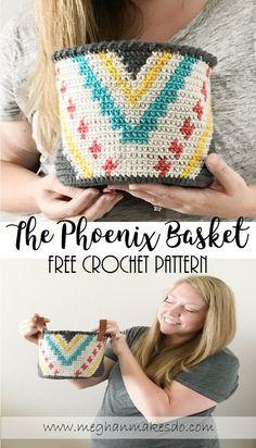 Free crochet pattern, the phoenix basket pattern, free pattern, tapestry crochet pattern, how to tapestry crochet in the round