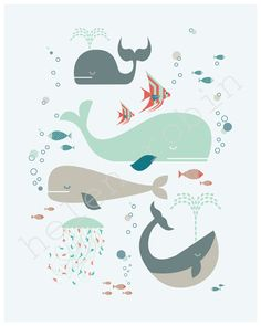 Whales Under The Sea Print. $20.00, via Etsy.