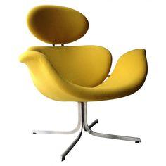 """Fauteuil """"Big Tulip"""" en laine jaune, Pierre PAULIN - années 60 - Design Market"""