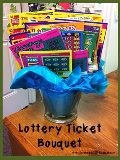 "Lottery Ticket Bouquet. Add a message ""We are lucky to have you as a volunteer!"""
