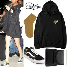 Kendall Jenner was spotted arriving at Kanye West's Saint Pablo Tour in Los Angeles wearing a Champion Yeezus Kanye West Glastonbury Hoodie ($73.86), a M2malletier Leather Backpack ($1,487.00), Topshop Glitter Ribbed Socks ($8.00 – wrong color) and Vans Old Skool Classic Sneakers ($60.00).