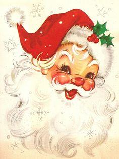 vintage Christmas love his jolly face Noel Christmas, Father Christmas, Retro Christmas, Winter Christmas, Christmas Crafts, Christmas Parties, Christmas Fabric, Christmas Items, Reindeer Christmas