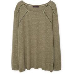 Violeta BY MANGO Trim Linen-Blend T-Shirt (495 SEK) ❤ liked on Polyvore featuring tops, shirts, sweaters, linen blend shirt, long sleeve shirts, round top, long-sleeve shirt and long sleeve tops