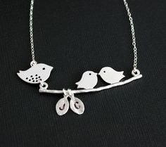 "Mama & Baby Birds Necklace from Opalj.  I need a new ""mommy"" necklace. Mothers Day is coming up! Who wants to get me one?? Sooo Cute!"