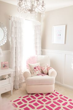 Baby Girl Nursery with Hot Pink Accents - We love the mix of clean lines and ruffly, girly details in this nursery!