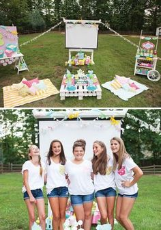 An Outdoor Movie Night Birthday Party with a decorated projector screen, popcorn bar, candy concession stand, custom pillows, cupcake decorating, picnic area & more.