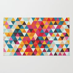 Vintage Summer Color Palette - Hipster Geometric Triangle Pattern Rug by pelaxy Triangle Pattern, Summer Colors, Chevron, Area Rugs, Palette, Hipster, Touch, Artists, Abstract